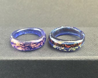 Borosilicate Glass Rings Dichroic Sparkles Lot of 2 Sz. 5 -Dan Rushin (23)