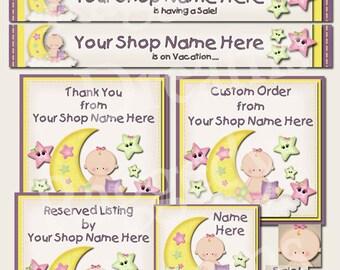 Baby Girl Moon Stars Design - Premade Etsy Shop Design - Etsy Banner Set - Etsy Shop Banner - SHOP ICON - Shop Profile Photo