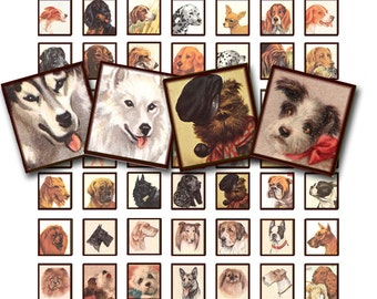 vintage dogs collage sheet in a  .75 x .83 inch scrabble tile size printable digital sheet no. 258.