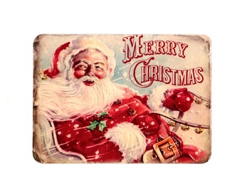 Christmas Note Cards , Blank Cards , Flat Cards , Santa Claus , Merry Christmas , Vintage Santa , Vintage Christmas