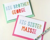 Personalised New Baby Sibling Card. New Baby Card. Big Brother Card. Big Sister Card. Typography Card.