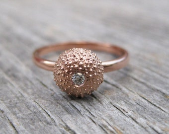Seashell engagement ring 14kt rose gold tiny SEA URCHIN flush set 2mm faceted moissanite Made to Order