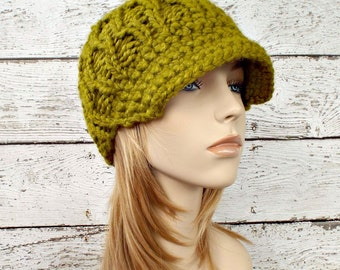 Knit Hat Green Womens Hat Green Newsboy Hat - Amsterdam Cable Beanie with Visor Lemongrass Green Hat - Womens Accessories - READY TO SHIP