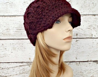 Knit Hat Womens Hat Burgundy Red Newsboy Hat - Amsterdam Cable Beanie Cabernet Wine Red Hat Knit Hat Womens Accessories - READY TO SHIP