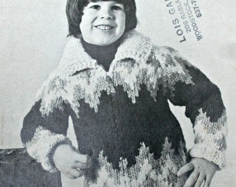 Knitting Pattern Cardigan Indian Sweater Children Beehive Patons L - 5 Sizes 6 - 8 - 10 Super Bulky Weight Yarn  Paper Original NOT a PDF