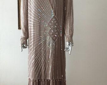 Stunning Oleg Cassini 20s Style Beaded Gown