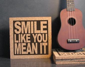 the killers band smile like you mean it lyrics inspirational decorative cork wall art hot pad trivet office cubicle decor band office cubicle