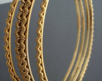 Vintage Gold Bangle Set - Antique Gold Tone - Bohemian Jewelry - Set of 4 - Textured Braclets