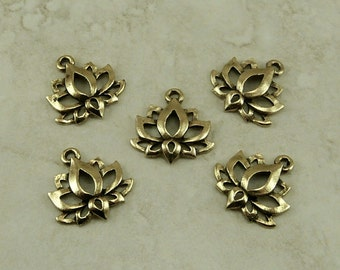5 Lotus Flower Pendant Charms > Zen Peace Tranquil Yoga Buddhist Pond - Gold Tone American Made Lead Free Pewter - I ship internationally