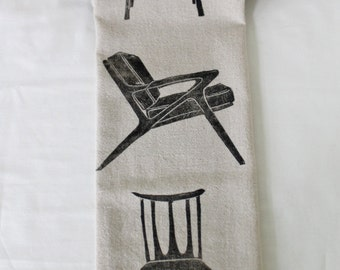 Midcentury Chairs Handmade Block Printed Tea Towel- 100% cotton- Three Chairs
