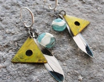 Feather Tribal Earrings Lampwork beads, Enamel Triangles and Parakeet Bird Feathers