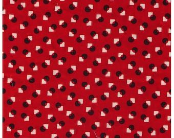 FAT QUARTER Yuwa - Suzuko Koseki - Mini Circle and Squares - Black Dots and White Squares on RED - Japanese
