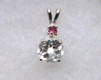 8mm White Topaz Gemstone with 3mm Pink Tourmaline Gemstone Accent in 925 Sterling Silver Pendant Necklace