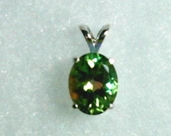 10x8mm Mystic Green Quartz Gemstone in 925 Sterling Silver Pendant Necklace