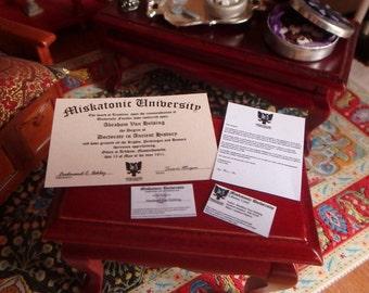 Dollhouse Miniature Miskatonic University Diploma and Papers