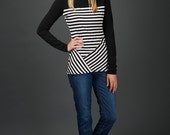 Katrine top in striped bamboo & cotton jersey