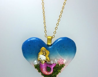 Mermaid Heart Necklace, Mermaid Love Necklace, Mermaid Fantasy Necklace, Elegant Mermaid Jewelry, Ocean Mermaid Necklace, Enchanted Necklace