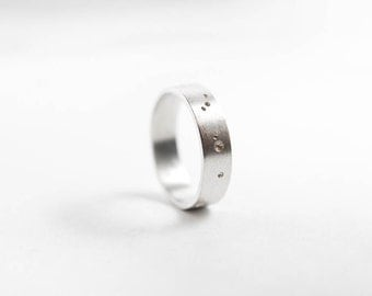 Constellation Ring, Brushed Silver Ring, Mens Silver Ring, Mens Jewelry