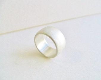 Wide Brushed Custom Sterling Silver Band Men's or Women's Wedding Band. Custom Solid Sterling Silver Ring. Wide Silver Wedding Band