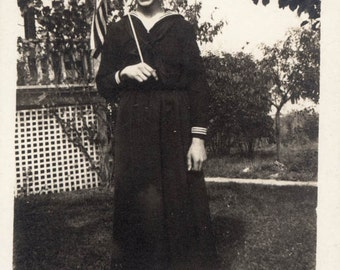 vintage photo 1918 Teenager Holds Flag in Hand