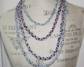 Four Strand Braided Fabric Necklace Deep Blue Sea Colors