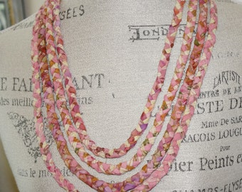 Four Strand Braided Fabric Necklace Sunrise Colors