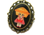 """Handmade and Illustrated Brooch - """"Penelope Gingham"""" Pie Girl - Black or Mint"""