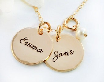 Personalized Gold Mother's Necklace, Gold-Filled Name Necklace, Name Jewelry, Mother's Jewelry, Mommy Jewelry