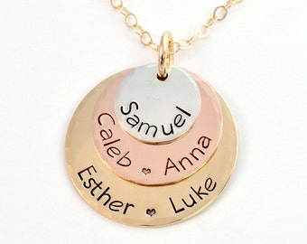 Personalized Layered Mother's Name Necklace, Mixed Metals, Gold and Silver, Mother's Necklace, Gift for Mom