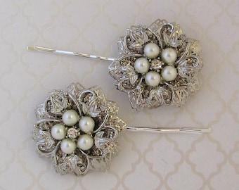 Wedding Hair Pins,  Bridal Hair accessories, Silver, Crystal, Pearl, flower, Bridal Bobby Pins, Wedding Hair, Bridesmaids hair