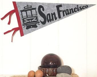 San Francisco Pennant Silkscreen on Gray Wool Felt