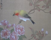 HOLD JACKI1970s Chinese Watercolor on Silk with Brocade Matte #1 Yellow Bird with Peonies