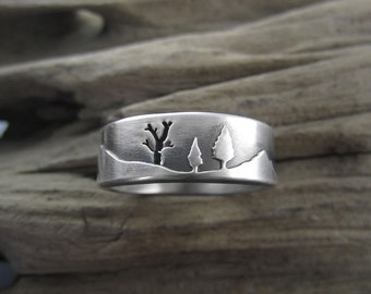 Mountain Forest Sterling Silver Wedding Ring
