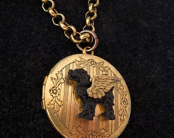 PORTUGUESE WATER DOG Angel Locket Necklace. Jewelry Locket Pendant. Pet Dog Sympathy Gift. Pet Loss Memorial. Black Portuguese Water Dog