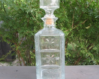 Vintage Pressed Glass Bourbon Decanter - Walker Bourbon - 1976