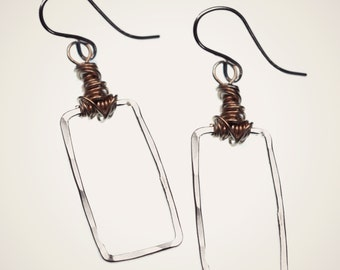 mixed metal knot earrings, sterling silver handmade hammered retangle with intricate wire work, geometric earrings