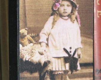 Primitive Style Wood Photo Block Little Girl With Teddy Bear Pleated Sailor Skirt Long Curls And Hat