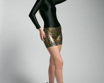 SALE Metallic Gold Holographic Boom Boom Shorts
