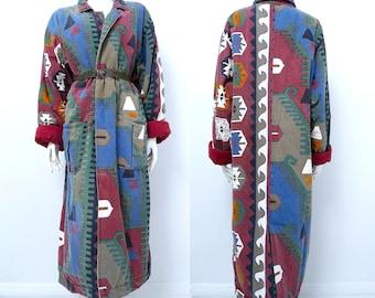 90s Aztec Southwestern Duster Maxi Winter Coat Oversized One Size