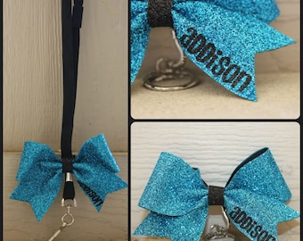 Personalized Sparkle Bow Key Chain OR Lanyard