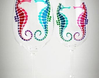 Seahorse Wine Glasses - Set of 2 Hand Painted Seahorse Glasses, Wedding Glasses, Seahorse Wedding, Beach Wedding, Seahorses ONLY SET