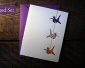 Letterpress Printed String of Cranes Cards (Violet-Red-Orange)