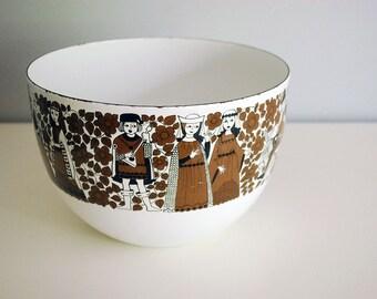 Finel Arabia Bowl, Mid Century Modern Enamel Bowl, 1960s Kaj Franck Vintage Enamelware, Finland Scandinavia, Medieval Troubador Ritari