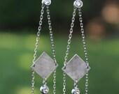 Diamond Chain Drop Earrings