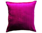 Magenta Pillow Cover -- Silk Purple Pink Throw Pillow Cover -- 18 x 18