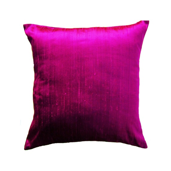 Purple Silk Throw Pillows : Magenta Pillow Cover Silk Purple Pink Throw Pillow Cover