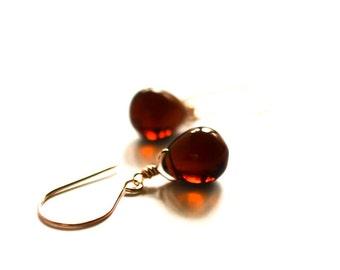Rose gold earrings glass, brown glass earrings, brown drop earrings, autumn color earrings, rust stone earrings Paka Ua Plump Auburn