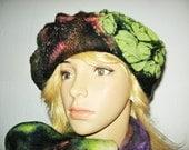 NUNOFELT HAT, Wool Green Browne Beret, Ladies one of kind felted Hat. Woman Winter Hat