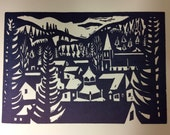 Nevada City, CA - Robert Gilberg Block Print Letterpress Card