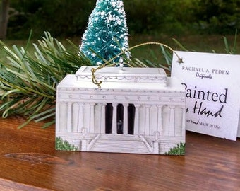 LINCOLN Memorial Ornament Washington, DC Hand Painted on wood in USA